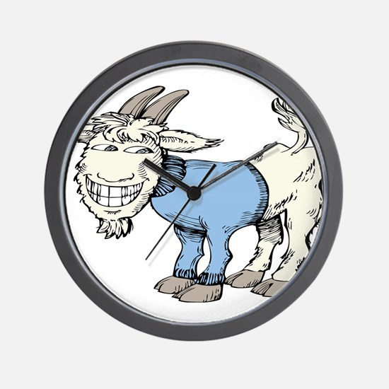 Silly Cartoon Goat in Blue Sweater Wall Clock