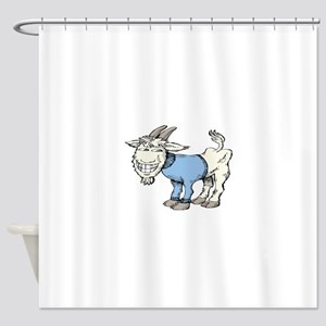 Silly Cartoon Goat In Blue Sweater Shower Curtain