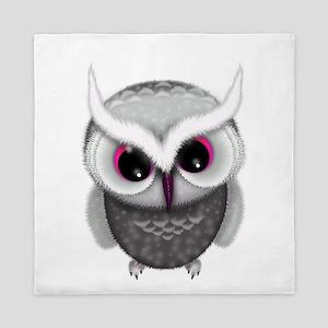 Cute Little Grey Spotted Owl Illustrat Queen Duvet