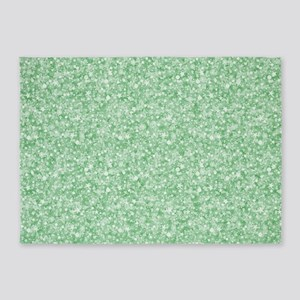 Pastel Green Glitter & Sparkles Bac 5'x7'Area Rug