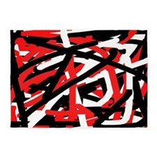 Black, red and white graffiti art 5'x7'Area Rug