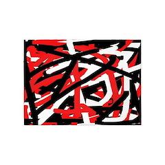 Black, red and white graffiti art 5'x7'Area Rug