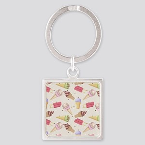 Ice Cream Choices Square Keychain