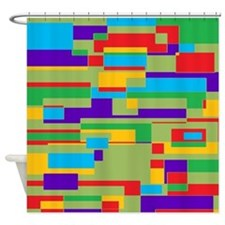 Green, red, purple, aqua and yellow geometric Show