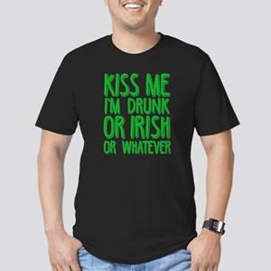 Kiss Me I'm Drunk or I Men's Fitted T-Shirt (dark)