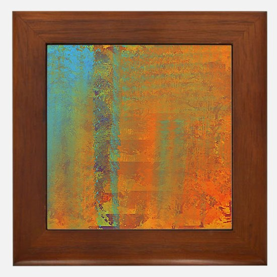 Abstract in Aqua, Copper and Gold Framed Tile