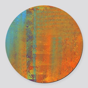 Abstract in Aqua, Copper and Gold Round Car Magnet