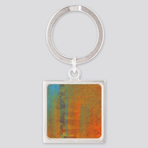 Abstract in Aqua, Copper and Gold Square Keychain