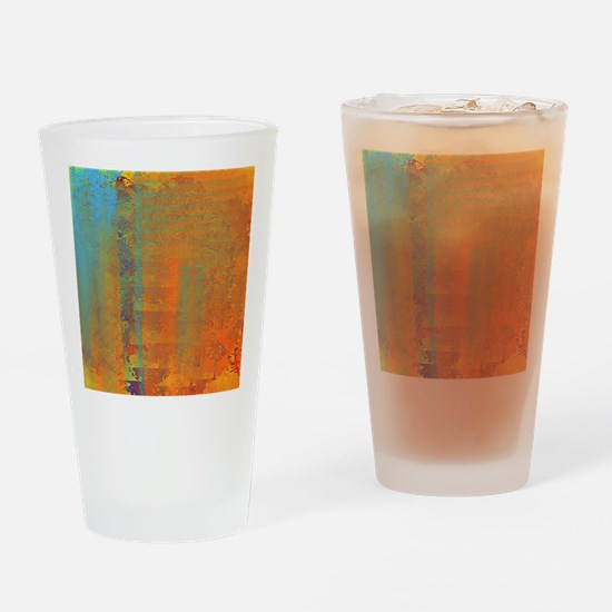Abstract in Aqua, Copper and Gold Drinking Glass