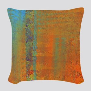 Abstract in Aqua, Copper and G Woven Throw Pillow