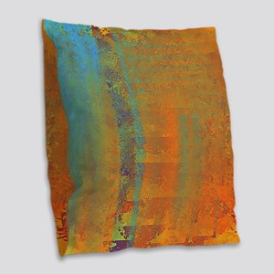 Abstract in Aqua, Copper and G Burlap Throw Pillow