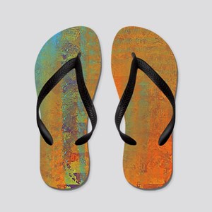 Abstract in Aqua, Copper and Gold Flip Flops