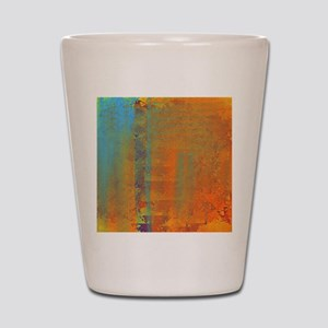 Abstract in Aqua, Copper and Gold Shot Glass