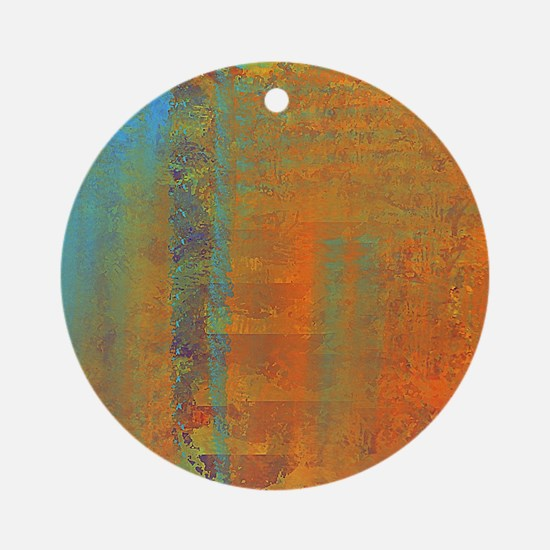 Abstract in Aqua, Copper and Gold Round Ornament