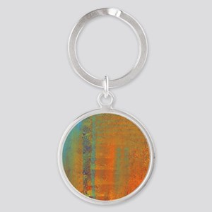 Abstract in Aqua, Copper and Gold Round Keychain