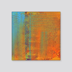 "Abstract in Aqua, Copper an Square Sticker 3"" x 3"""
