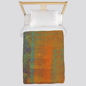 Abstract in Aqua, Copper and Gold Twin Duvet