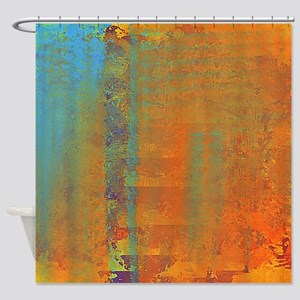 Abstract In Aqua Copper And Gold Shower Curtain