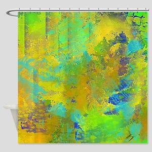 Abstract, Aqua, Copper, Gold, Blue Shower Curtain