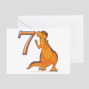 Kids Dino 7th Birthday Invitation Card