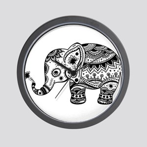 Cute Floral Elephant In Black Wall Clock