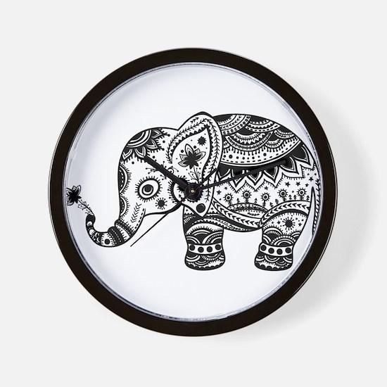 Cute Floral Elephant In Black Wall Clock