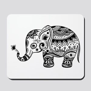 Cute Floral Elephant In Black Mousepad