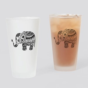 Cute Floral Elephant In Black Drinking Glass