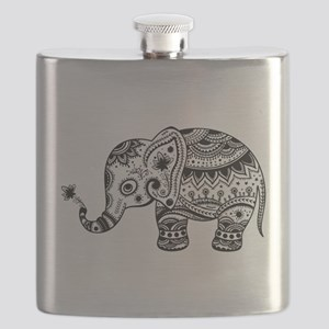 Cute Floral Elephant In Black Flask