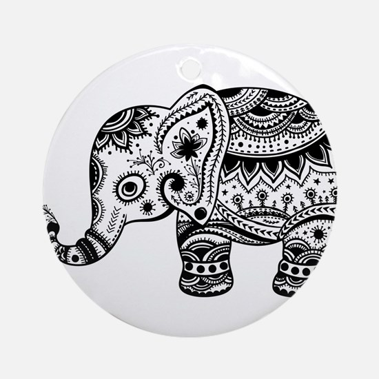 Cute Floral Elephant In Black Ornament (Round)