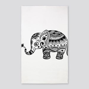 Cute Floral Elephant In Black Area Rug