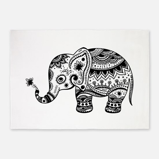 Cute Floral Elephant In Black 5'x7'Area Rug
