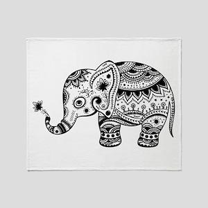 Cute Floral Elephant In Black Throw Blanket