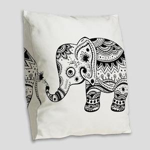 Cute Floral Elephant In Black Burlap Throw Pillow