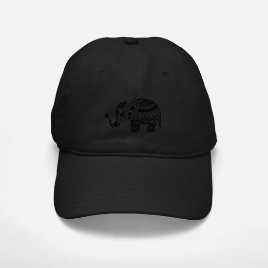 Cute Floral Elephant In Black Baseball Hat