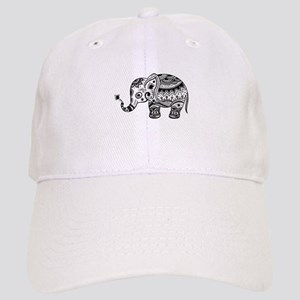 Cute Floral Elephant In Black Cap