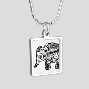 Cute Floral Elephant In Black Necklaces