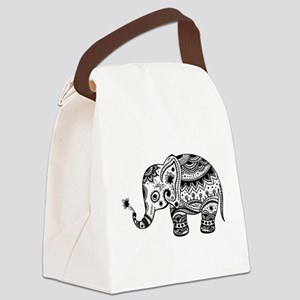 Cute Floral Elephant In Black Canvas Lunch Bag