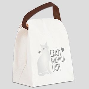 Crazy Burmilla cat Lady Canvas Lunch Bag