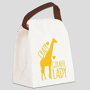 Crazy Giraffe Lady Canvas Lunch Bag