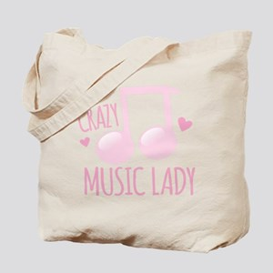 Crazy Music Lady Tote Bag