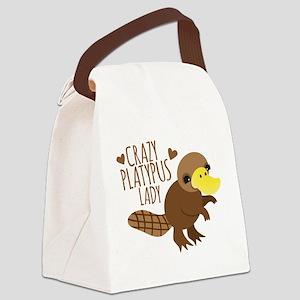Crazy Platypus Lady Canvas Lunch Bag