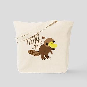 Crazy Platypus Lady Tote Bag
