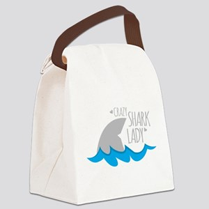 Crazy Shark Lady Canvas Lunch Bag