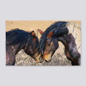 Wild Brothers (horses) Area Rug