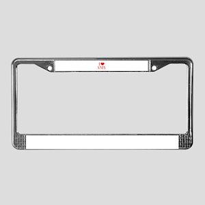 I love AMY-Bau red 500 License Plate Frame
