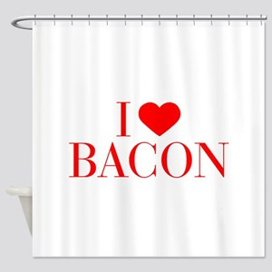 I love Bacon-Bau red 500 Shower Curtain