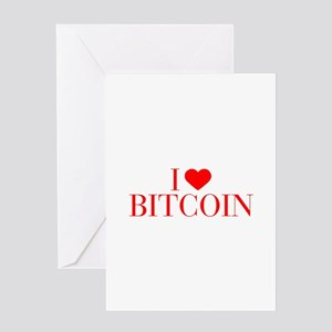 I love Bitcoin-Bau red 500 Greeting Cards