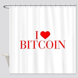I love Bitcoin-Bau red 500 Shower Curtain