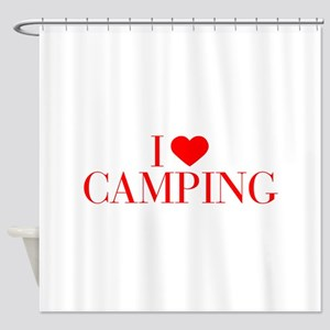 I love Camping-Bau red 500 Shower Curtain